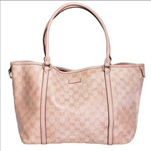 GUCCI Pink Coated Canvas Tote